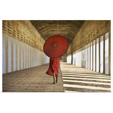 Great BIG Canvas | Rolled Scott Stulberg Poster Print entitled Monk with Parasol walking in Monastery, Bagan, Burma ()