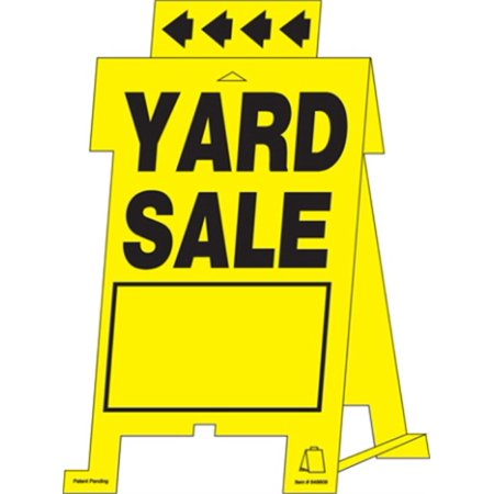 Hillman 848608 Yard Sale Tent Sign, Yellow and Black Corrugated Heavy Duty Plastic, 12x20 Inches 1-Sign