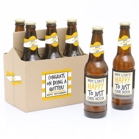 Retirement Party Decorations for Women and Men - 6 Beer Bottle Label Stickers and 1 Carrier](Beer Themed Decorations)