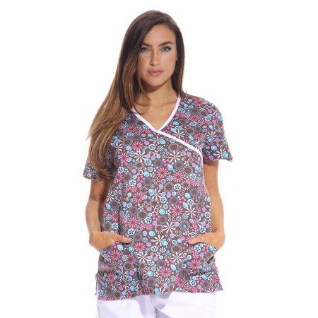f818aeda1ec Dreamcrest Women's Scrub Tops / Holiday Scrubs / Nursing Scrubs (Brown  Wrap, Extra Large
