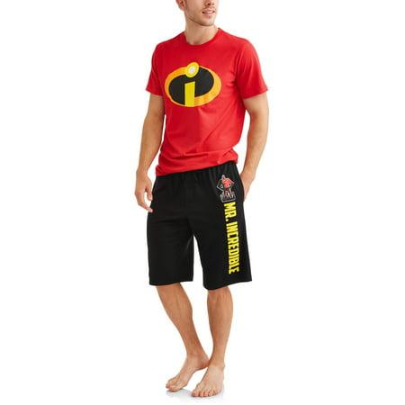 Disney Pixar Men's Incredibles   2 PC Shirt and Shorts Pajama Set, Size: M (Mens Disney Pajamas)