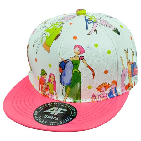 Neon Pink Flat Bill Womens Fashion Design White Faux Leather Snapback Hat Cap