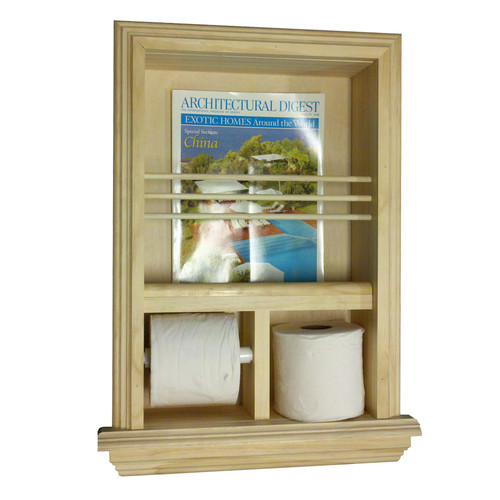 WG Wood Products Recessed Magazine Rack and Toilet Paper Holder by WG Wood Products