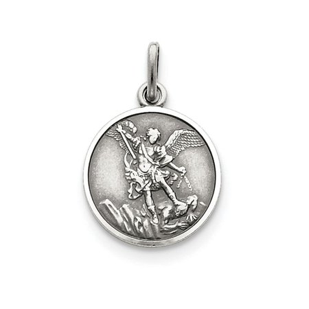 Sterling Silver Antiqued Saint Michael Medal Pendant Necklace Chain Included