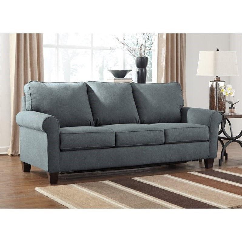 Ashley Zeth Fabric Queen Size Sleeper Sofa In Denim Walmart Com