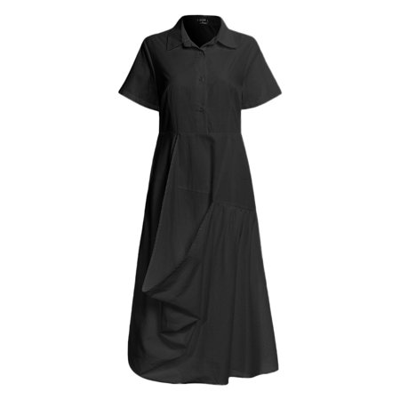 VONDA Women's Solid Cotton Dress Casual Lapel Short Sleeve Shirtdress - image 2 de 8
