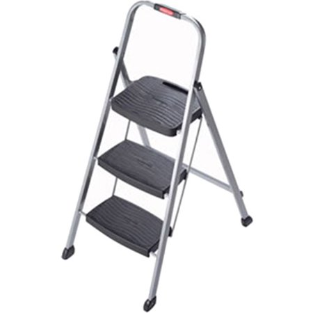 Rubbermaid 3-Step Steel Frame Stool with Hand Grip and Plastic Steps, 200-Pound Capacity, Silver Finish