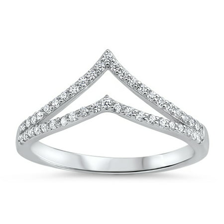 White CZ Open Chevron Micro Pave Thumb Ring .925 Sterling Silver Band Size