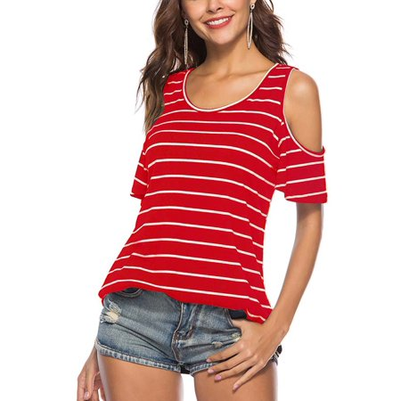 ZEFINE Women's Round Neck Off Shoulder Ruffle Stripe Short Sleeve T-Shirt Top (Striped Ruffle Top)