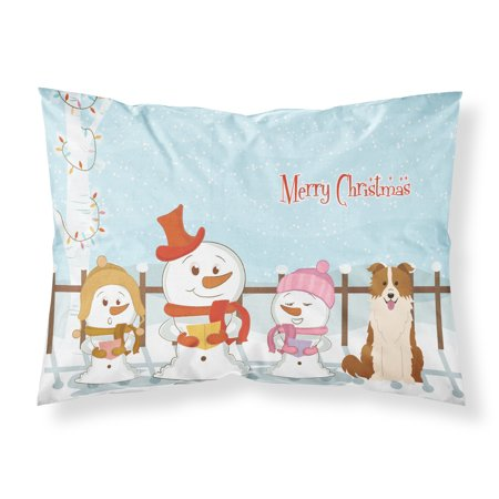 Merry Christmas Carolers Border Collie Red White Fabric Standard Pillowcase (Border Collie Fabric)