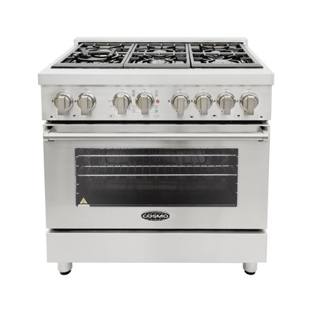 Cosmo Ranges COS-DFR366 36 in. Dual Fuel Range with 6 Italian Made Burners and Convection Oven Ceramic Dual Fuel Range