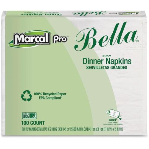 """Marcal Bella Dinner Napkin - 2 Ply - 15"""" x 17"""" - White - Paper - Eco-friendly, Fragrance-free, Strong, Absorbent - For D"""