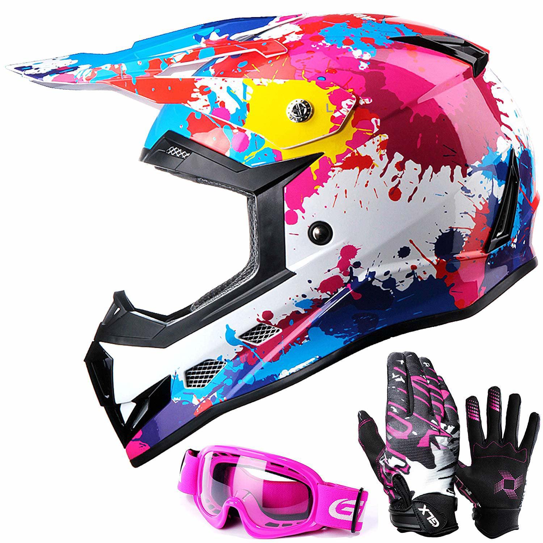 GLX DOT Youth Kids Motocross ATV Dirt Bike Helmet Off Road +Goggles+Gloves Color/Size Opt