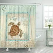 SUTTOM Green Sand Sea Turtle Coastal Beach Aqua Seashore Beachy Shower Curtain 66x72 inch