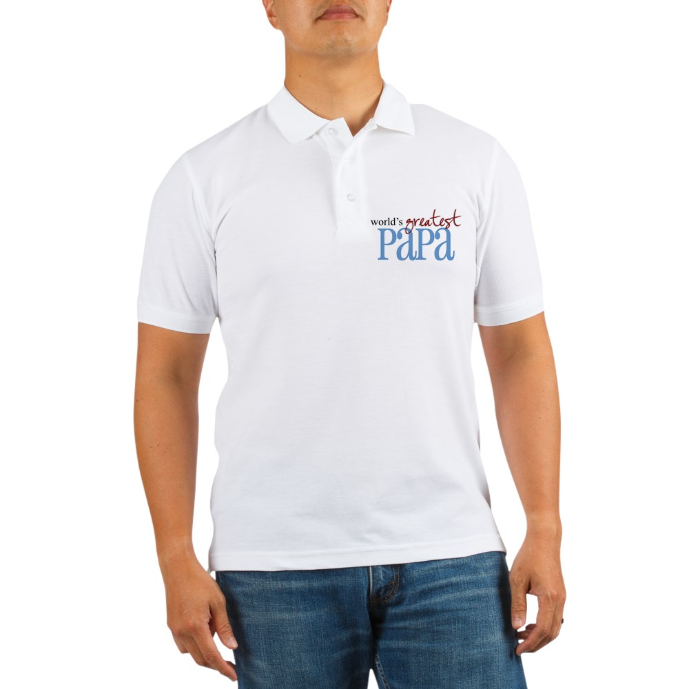 CafePress - World's Greatest Papa Golf Shirt - Golf Shirt, Pique Knit Golf Polo