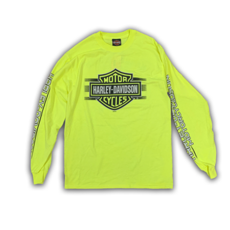 bf6a7a33 Harley-Davidson - Harley-Davidson Mens Bar and Shield Long Sleeve, Safety  Green T-Shirt - Walmart.com