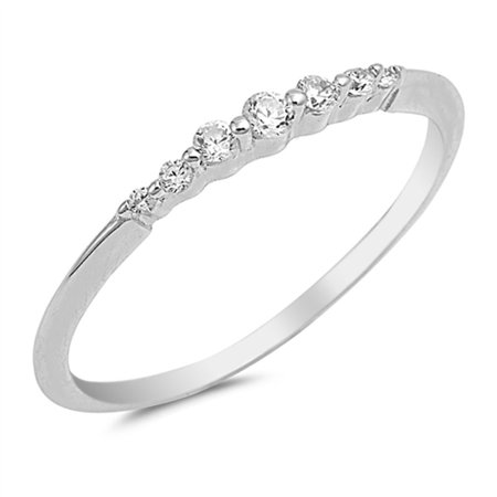 CHOOSE YOUR COLOR Thin Stackable Promise White CZ Ring 925 Sterling Silver Wedding Band (Clear Simulated CZ/Ring Size 6) - Duck Band Wedding Rings