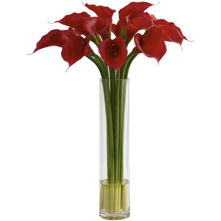 Nearly Natural Red Calla Lily with Large Cylinder Vase