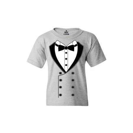 Shop4Ever Youth Black Button Tuxedo Suit Party Costume Graphic Youth T-Shirt