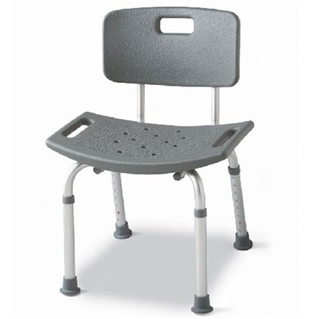Medline bath chair with back gray Bath bench