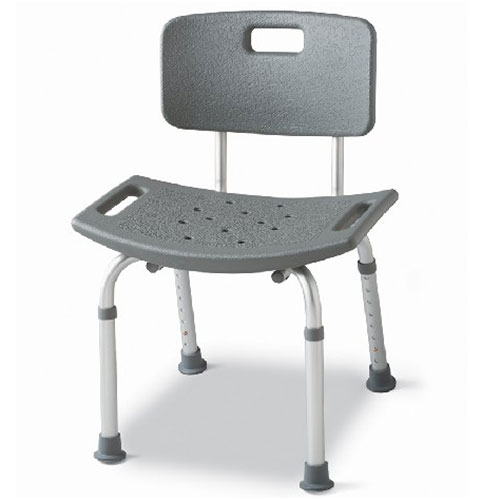 Medline Bath Chair with Back, Gray