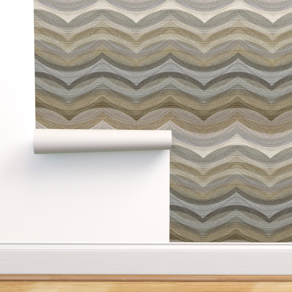 Peel And Stick Removable Wallpaper Landscape Painted Hills Brown White Abstract Walmart Com Walmart Com