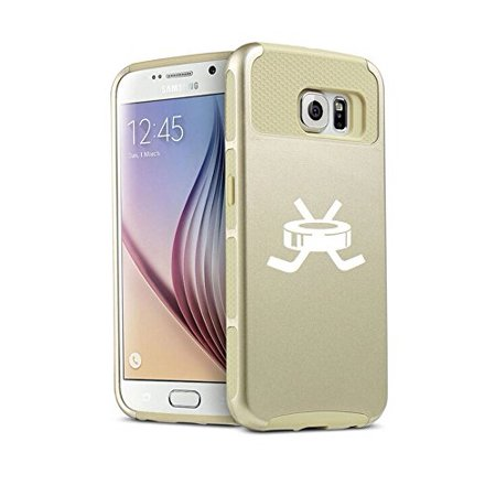 For Samsung Galaxy (S6 Edge + Plus) Shockproof Impact Hard Soft Case Cover Hockey Puck With Sticks (Gold)