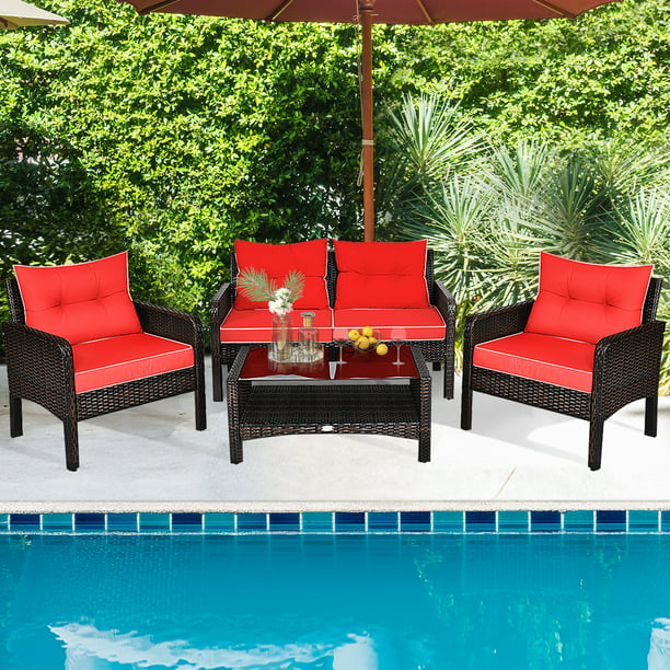 Gymax 4PCS Rattan Patio Conversation Set Red Cushioned Outdoor Furniture Set