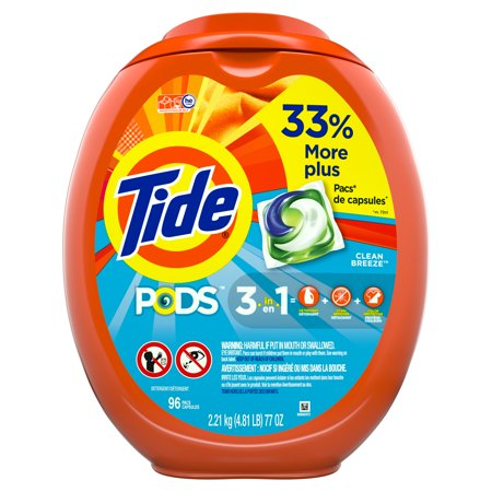 Tide PODS Liquid Laundry Detergent Pacs, Clean Breeze, 96 (Best Tan Removal Soap)