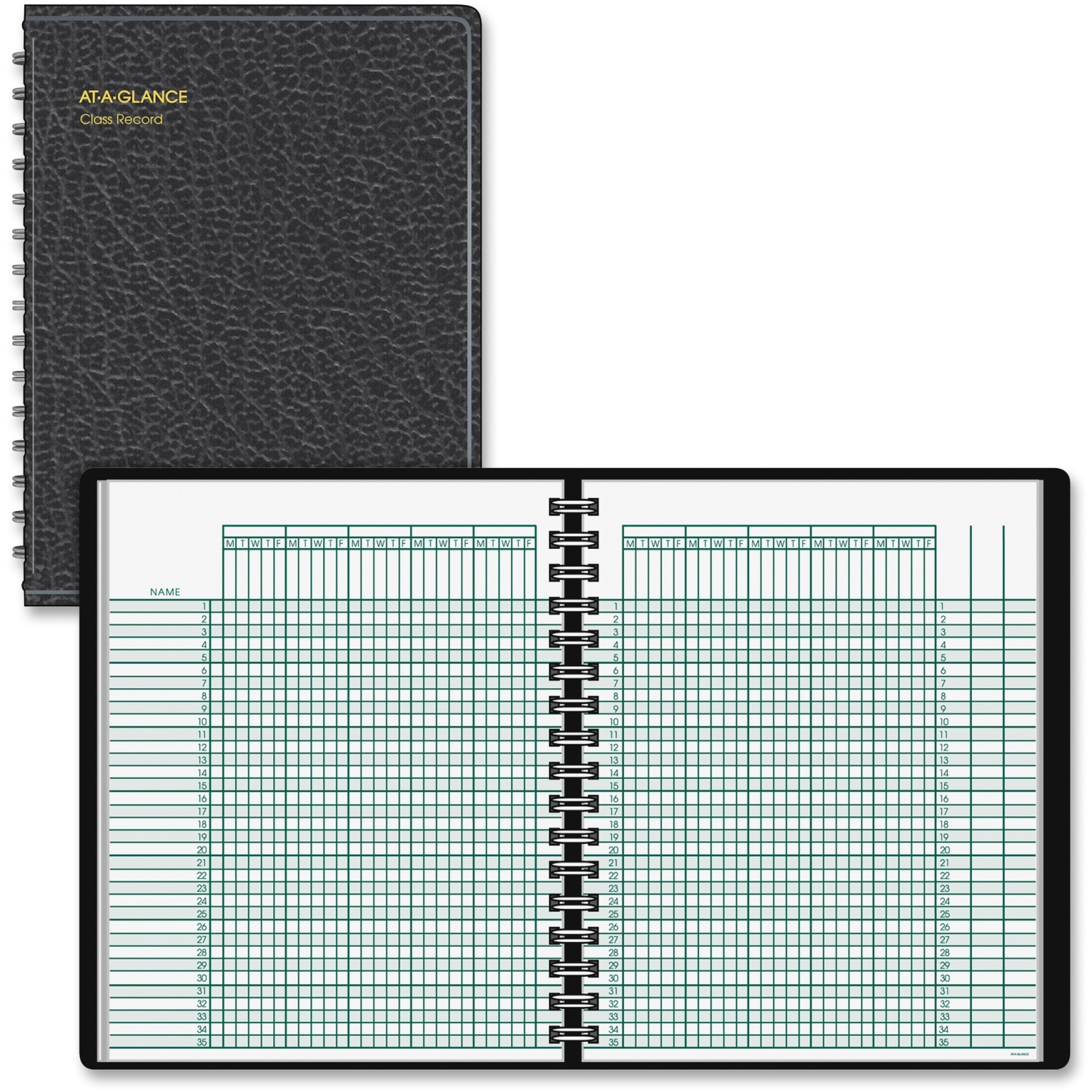 AT-A-GLANCE Undated Class Record Book, 10 7 8 x 8 1 4, Black by ACCO Brands Corporation