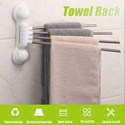 4-Bar Towel Rack, Swing Towel Hanger Rotating Bathroom Holder Wall Mount Suction Stainless Steel Bar