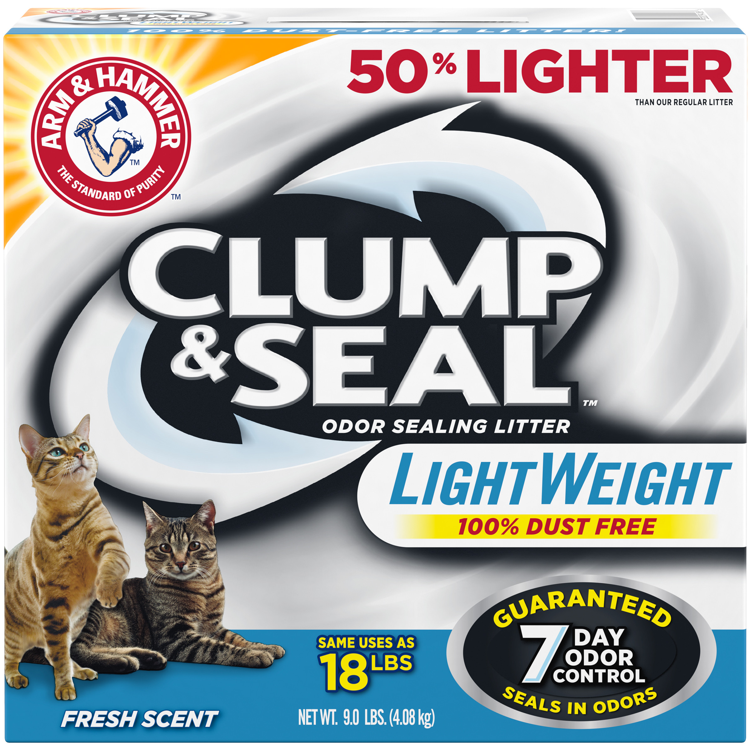 Arm & Hammer Clump & Seal Lightweight Litter, Fresh Scent, 9lb