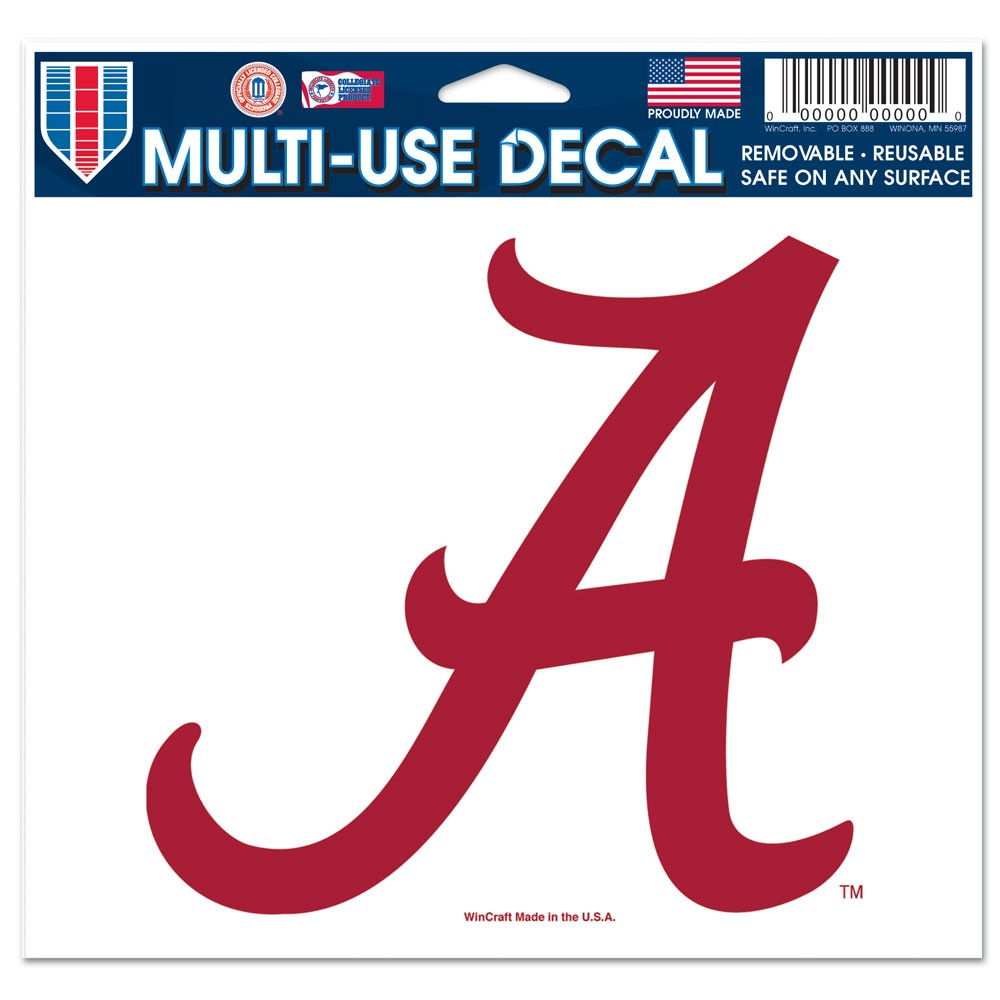 Alabama Crimson Tide Official NCAA 4 inch x 6 inch  Car Window Cling Decal by WinCraft
