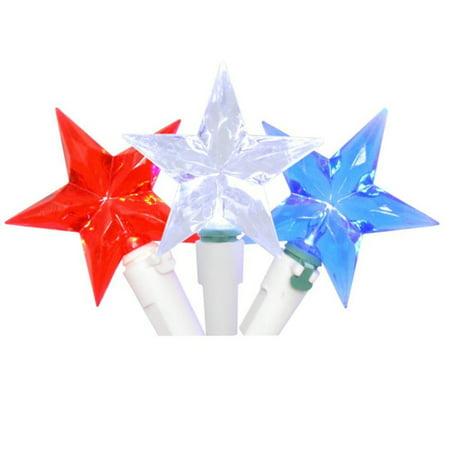 Americana 30 LED Star Lights Patriotic Red White & Blue String Light Set](Red White And Blue Star Lights)