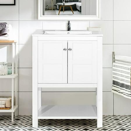Harper&Bright Designs Bathroom Vanity with Ceramic Sink Top 24