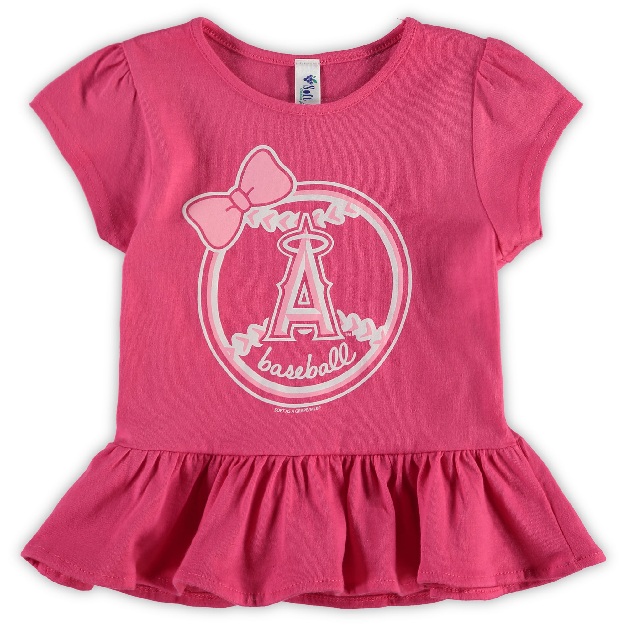 Los Angeles Angels Soft as a Grape Girls Toddler Ruffle T-Shirt - Pink