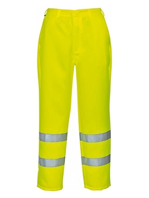 Portwest E041 Large Hi-Visibility Poly Cotton Trouser, Yellow - Regular