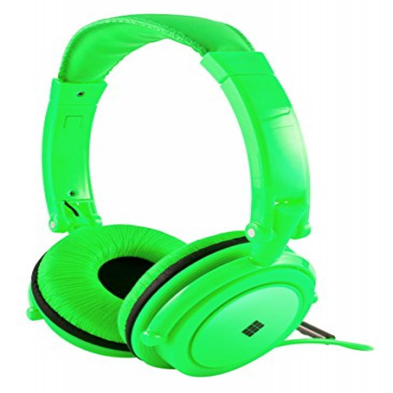 Polaroid Neon Headphones With Carring Case, Built-in Mic, Compatible With All Devices,Green