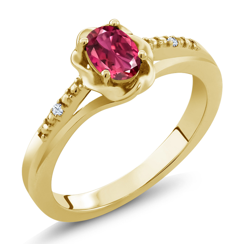 0.52 Ct Oval Pink Tourmaline White Topaz 14K Yellow Gold Ring by