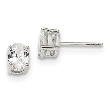Sterling Prong - Sterling Silver Prong set Post Earrings Basket setting 5x7mm Oval Cubic Zirconia Stud Earrings