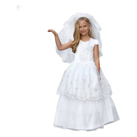 Angels Garment Girls White Corset Embroidered Organza Communion Dress - Biker Girl Corset