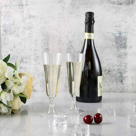 Efavormart 5oz Champagne Flutes, Plastic, 60 Pieces](Engraved Champagne Glasses)
