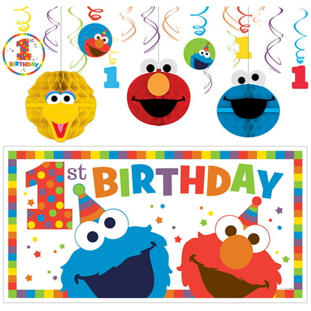Sesame Street 1st Birthday Elmo Decorating Supplies, Include Swirls and a Banner](Sesame Street Birthday Banner)