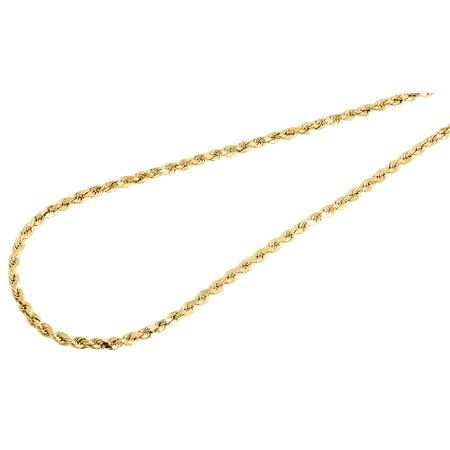 Mens or Ladies 10K Yellow Gold 2.5 MM D/C Hollow Rope Chain Necklace 16