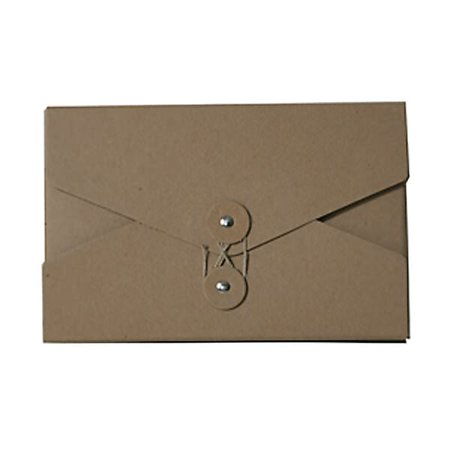Jam Paper Kraft Portfolio With Button And String Tie Closure  Video Size  5 1 2   X 8 1 2   X 1    Natural Recycled  Sold Individually