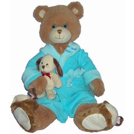 First & Main Plush Stuffed Blue on Brown Bear, 10