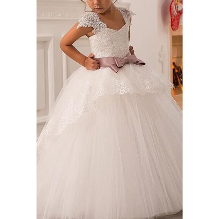 Kids Girls Sleeveless Lace Decorated Ball Gown Dress - Wisteria Color Dress