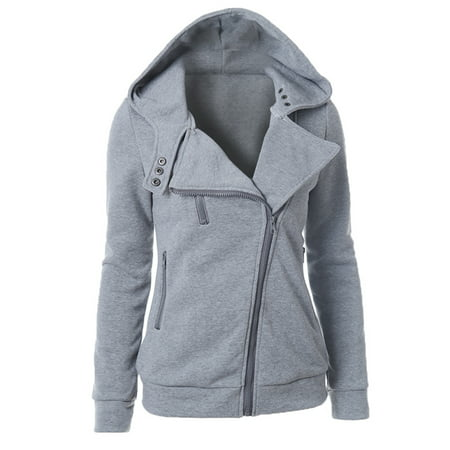 Hooded Coat Women Winter Zip Up Jackets Long Sleeve Hoodies Sweater Pullover Zipper Hoody Sweatshirt Oversized Outwear