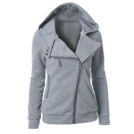 Women Hoodies Sweater Long Sleeve Pullover Hooded Sweatshirt Coat Jacket Pullover Tops Winter Warm Casual Zip Up Outwear