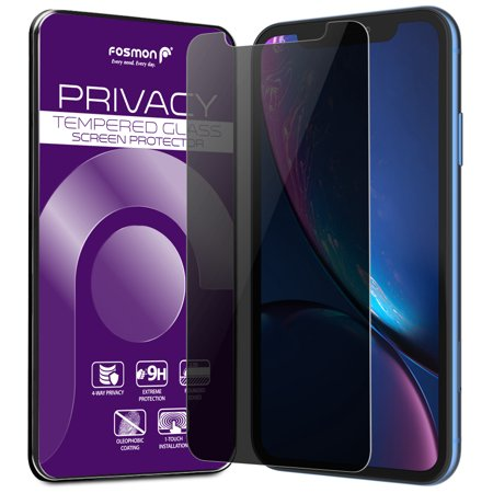 - Fosmon iPhone XR Screen Protector Privacy 2-Way Tempered Glass Anti-Spy Tinted Shatter Proof for Apple iPhone XR, 6.1